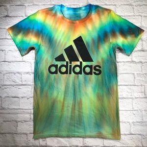 Custom ADIDAS Classic Logo Rainbow Tie Dye Shirt